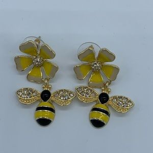 New yellow bumblebee with flower women's earrings